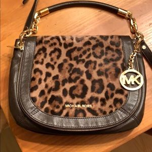 Michael Kors Leopard Calfhair and Leather Bag